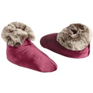 Shoes - Velvet Burgundy Fur Slipper Boots